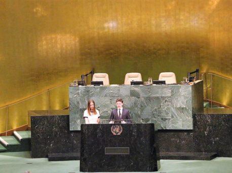 Speaking at Podium